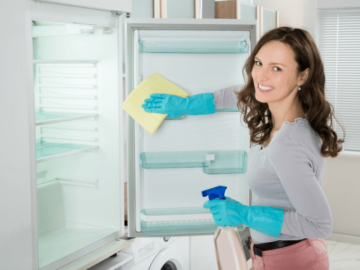 lady cleaning fridge